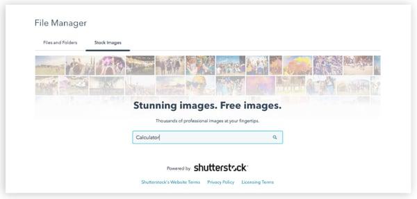 HubSpot Blog Tool Shutterstock