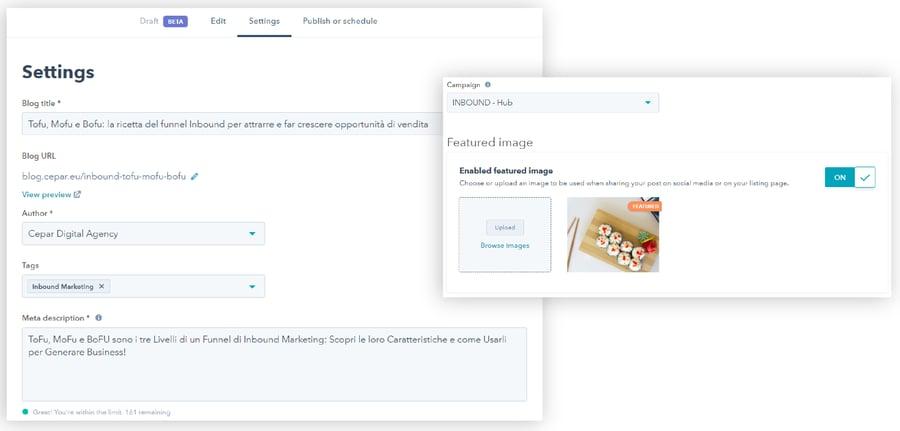 Hubspot Blog Tool Setting