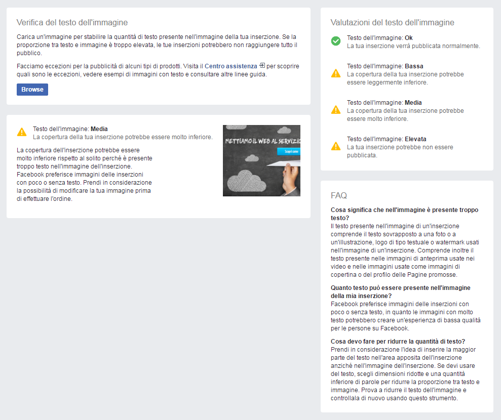 Facebook Ads - Verifica Testo Immagine